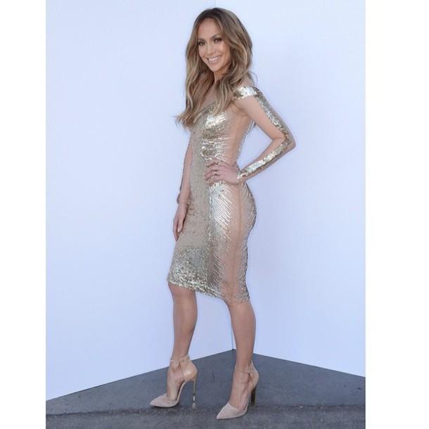 dress gold foil jennifer lopez jennifer lopez sheer nude foil print dress bodycon bodycon dress american idol american idol style mesh metallic sexy