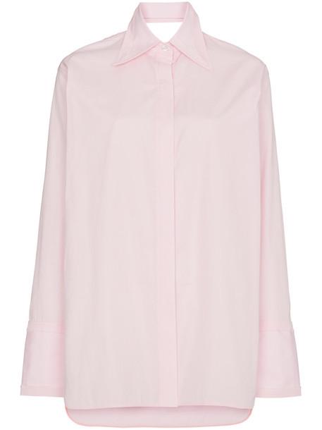shirt back women classic cotton purple pink top