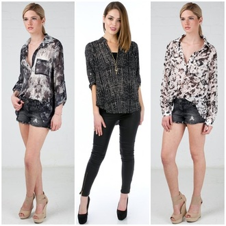 blouse angl top work prints button ups chic get this look profesional work attire collared shirts sexy