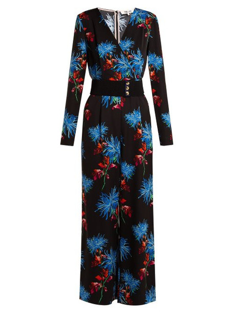 Diane Von Furstenberg - Hewes Floral Print Jumpsuit - Womens - Black Print