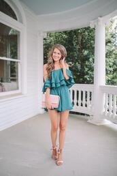southern curls and pearls,blogger,romper,shoes,jewels,clutch,sandals,summer outfits