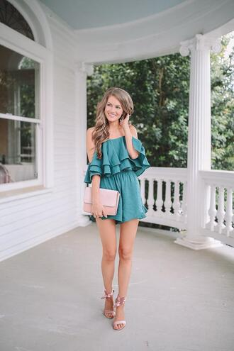 southern curls and pearls blogger romper shoes jewels clutch sandals summer outfits