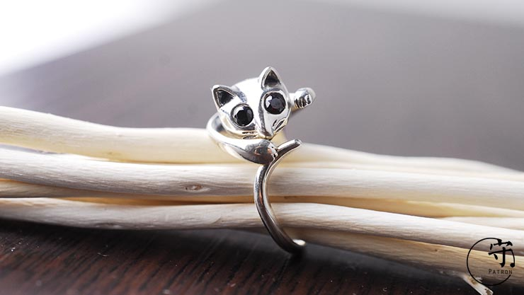 Vintage Cute Cat Handmade Thai Silver Women Open Rings - Wishbop.com