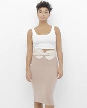 skirt,ribbed,ribbed skirt,pink,pink skirt,blush pink skirt,pencil skirt,knitwear,knitted skirt,blush pink