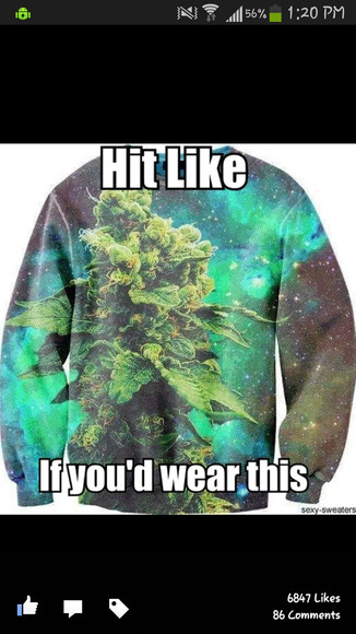 green sweater sweatshirt stoner