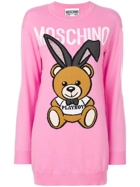 dress sweater dress bear women mohair wool purple pink