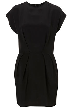 Tuck silk shift dress by boutique