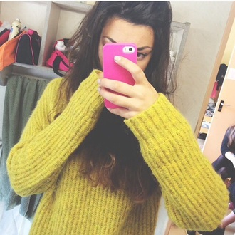 sweater winter sweater mustard yellow cute cute outfits iphone case pink phone cover girly