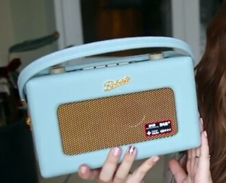 bag clock radio light blue