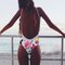 Floral print v-neck cross backless swimsuit