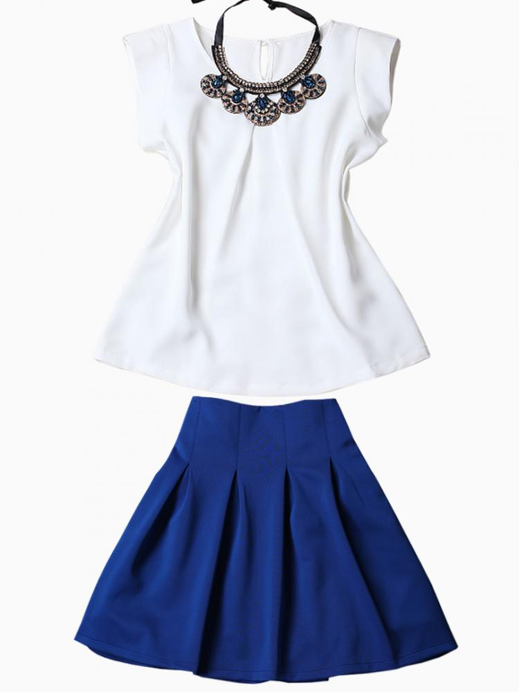 White Blouse With Blue Skate Skirt And Gem Necklace | Choies