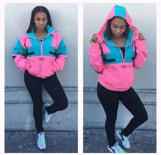 jacket fila windbreaker pink jacket