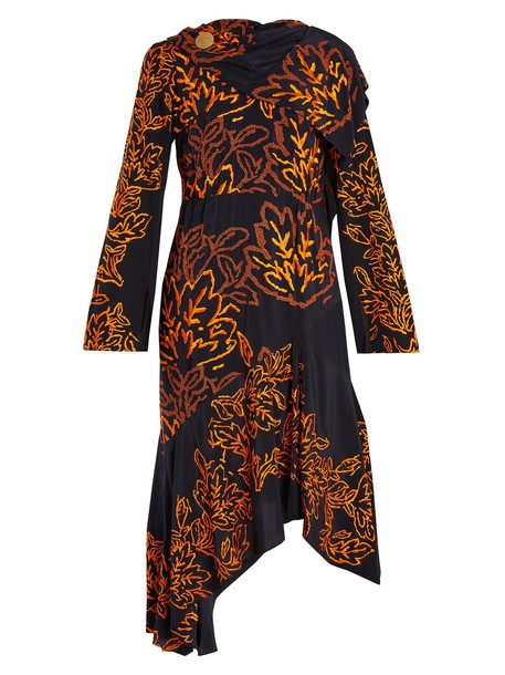 dress embroidered floral silk navy