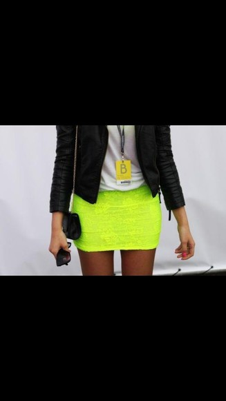 neon leather jacket skirt yellow neon yellow mini skirt leather
