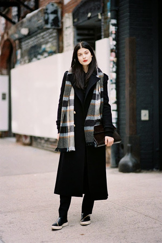 vanessa jackman blogger scarf make-up flannel long coat vans winter coat