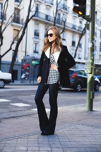 lady addict blogger gingham shearling jacket flare