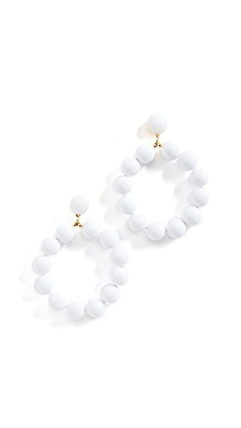 Kenneth Jay Lane ball earrings hoop earrings white jewels