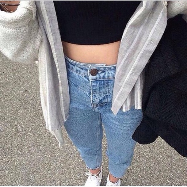 Jeans tumblr clothes tumblr outfit clothes nice high waisted high waisted shorts sweater ...