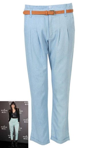 Kiera Denim Chino Belt Trouser - Pop Couture