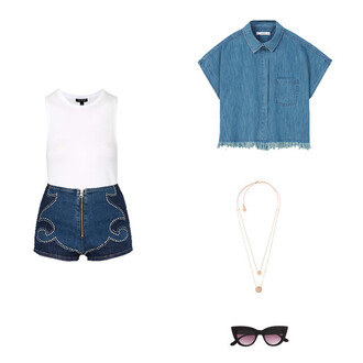 shorts nastygal denim denim shorts frayed denim white white top necklace sunglasses high waisted shorts