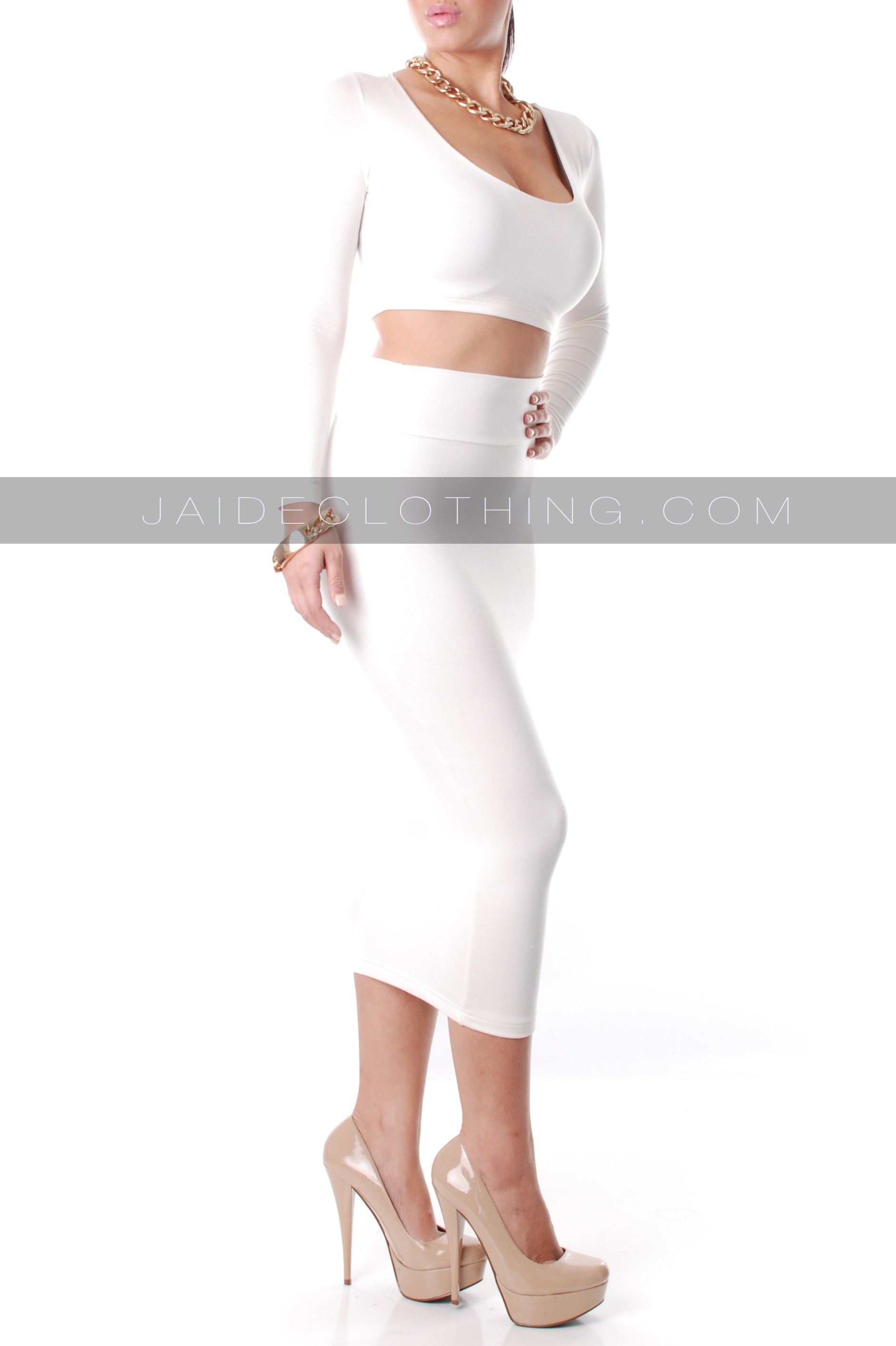 EXCLUSIVE Ivory High Waisted Cropped Outfit - Outfits
