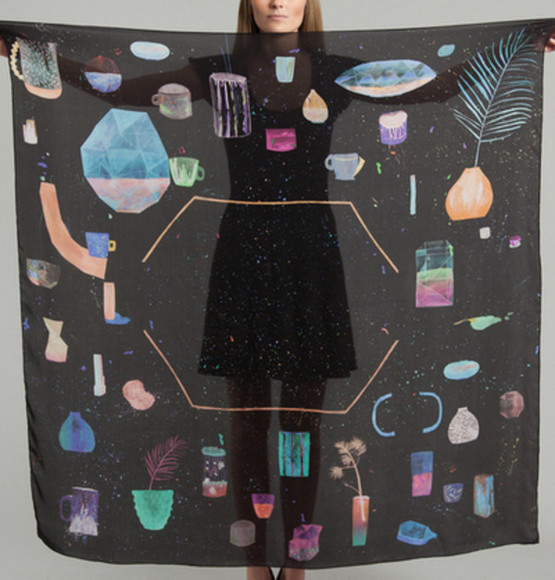 silk scarf gems galaxy space hype fashion magnificent