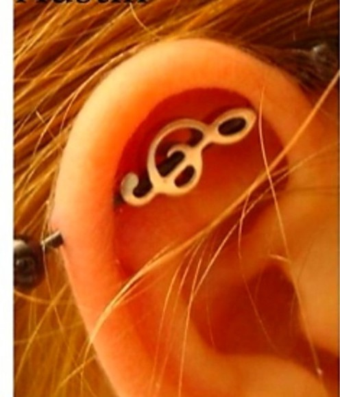 jewels earing industrial peircing music note