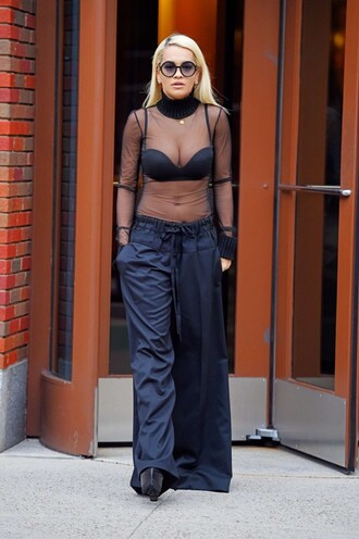 pants blouse all black everything wide-leg pants rita ora sheer see through sunglasses