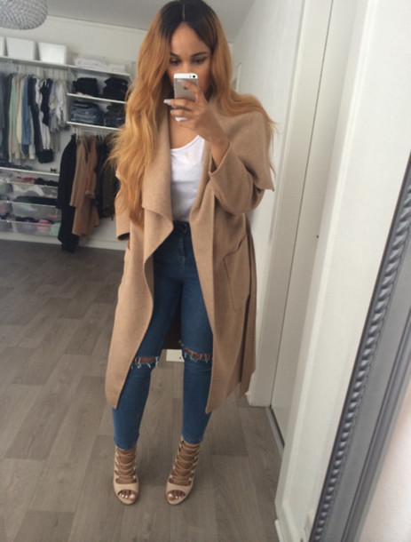 jacket jac ket hair long coat pea coat tan coat trench coat lace up heels nude high heels shoes coat trench coat long waterfall jeans cardigan nude jacket beige jacket beige