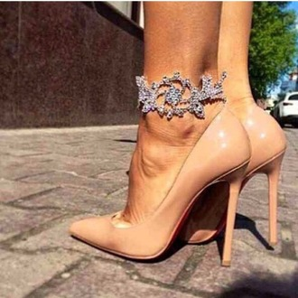 jewels anklet cuff bracelets jewelry shoes nude high heels