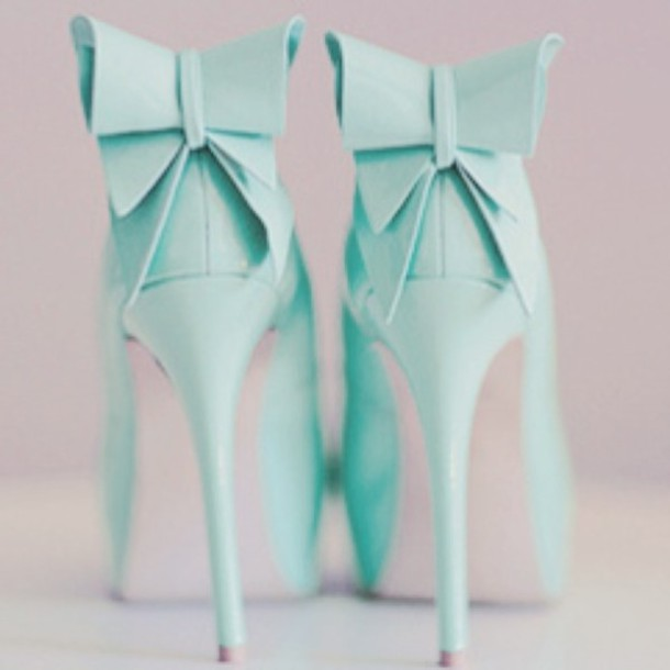 shoes heels bow ties blue green blue green cute