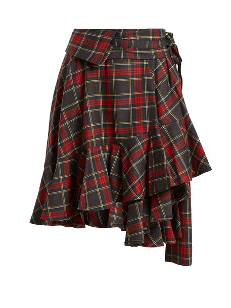skirt wool tartan red