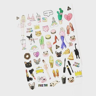 home accessory yeah bunny stickers cute iphone sticksers cactus cats dog queen macaroon