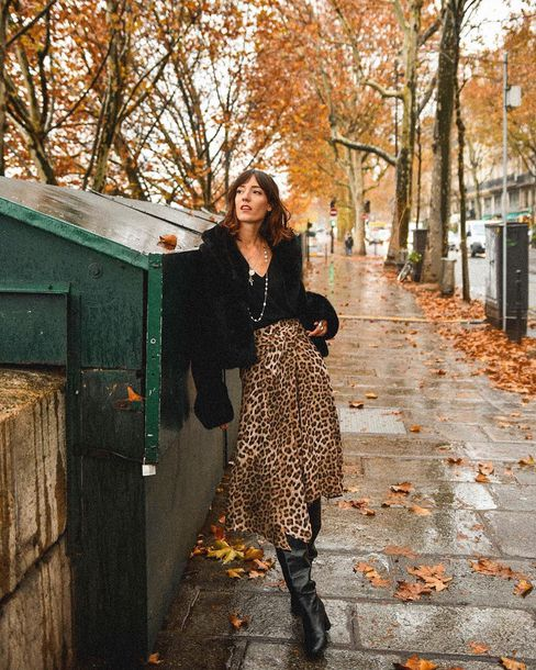 skirt midi skirt fur jacket boots black boots leopard print