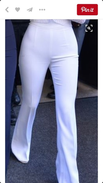 pants wide-leg pants white kylie jenner sexy classy summer outfits withe tight hip