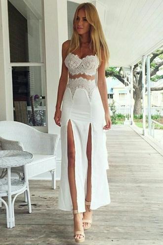 skirt lace white white dress outfit boho bohemian boho chic tumblr hippie tank top