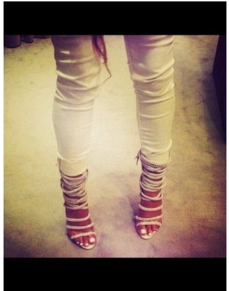 shoes white heels white shoes white heels strappy heels sparkly shoes pretty shoes chic silver shoes glittery shoes