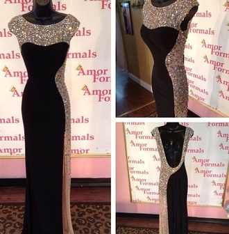 dress black bodycon dress beautiful gold prom sequins floor length maxi sleeves half and half tall ball gown