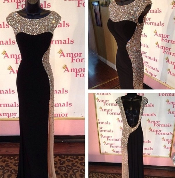 dress, black, gold, sequins, prom, floor, length, maxi, sleeves ...
