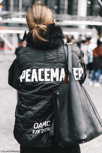 jacket tumblr fashion week 2017 streetstyle grey jacket fur scarf scarf customized quote on it bag black bag tote bag equality