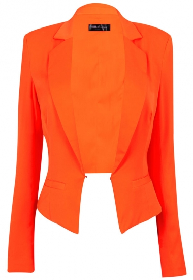Clothing : Jackets : 'Brianna' Orange Cropped Tailored Blazer