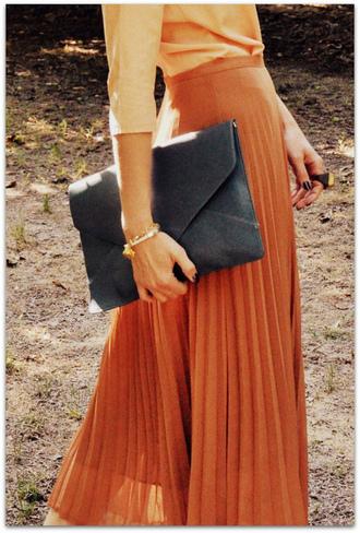 skirt orange skirt pleated skirt