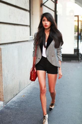 shorts tank top shoes jacket bag chic muse
