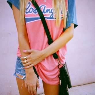 shirt los angeles dodgers vintage red blue pinterest t-shirt los angeles baseball tee boho shirt hipster top hippie outfit tumblr outfit casual shorts los angeles top pink