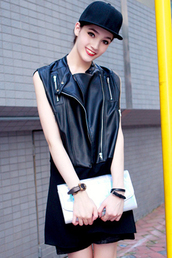 jacket,vest,black,leather
