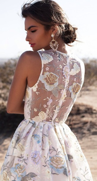 dress, floral, lace, prom dress, short prom dress, colorful dress ...