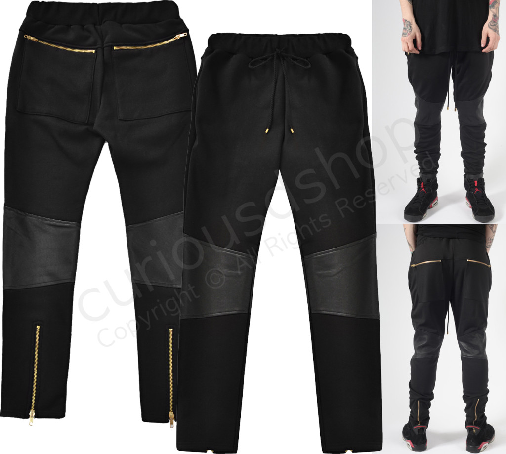 New Faux Leather Knee Panel Jogger Jogging Trouser Sweatpants Gold Zip Detail | eBay