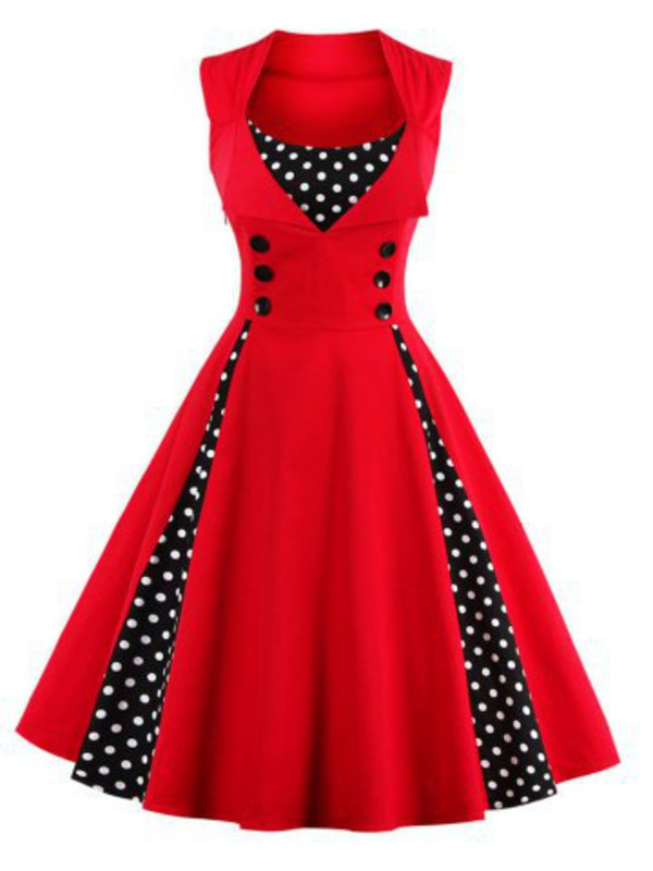 dress midi dress prom dress polka dots retro dress corset dress