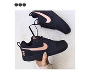 shoes,nike,nikeshoe,cute,black,bronze,metallic,black rose gold nikes,shorts,gold,sneakers,nike shoes