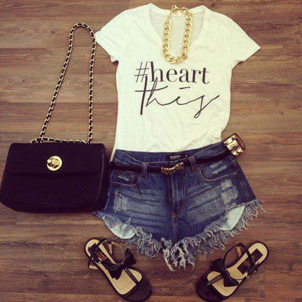 t-shirt sac shoes short jean collier t-shirt shorts jewels shirt bag heart this love hashtag blogger style